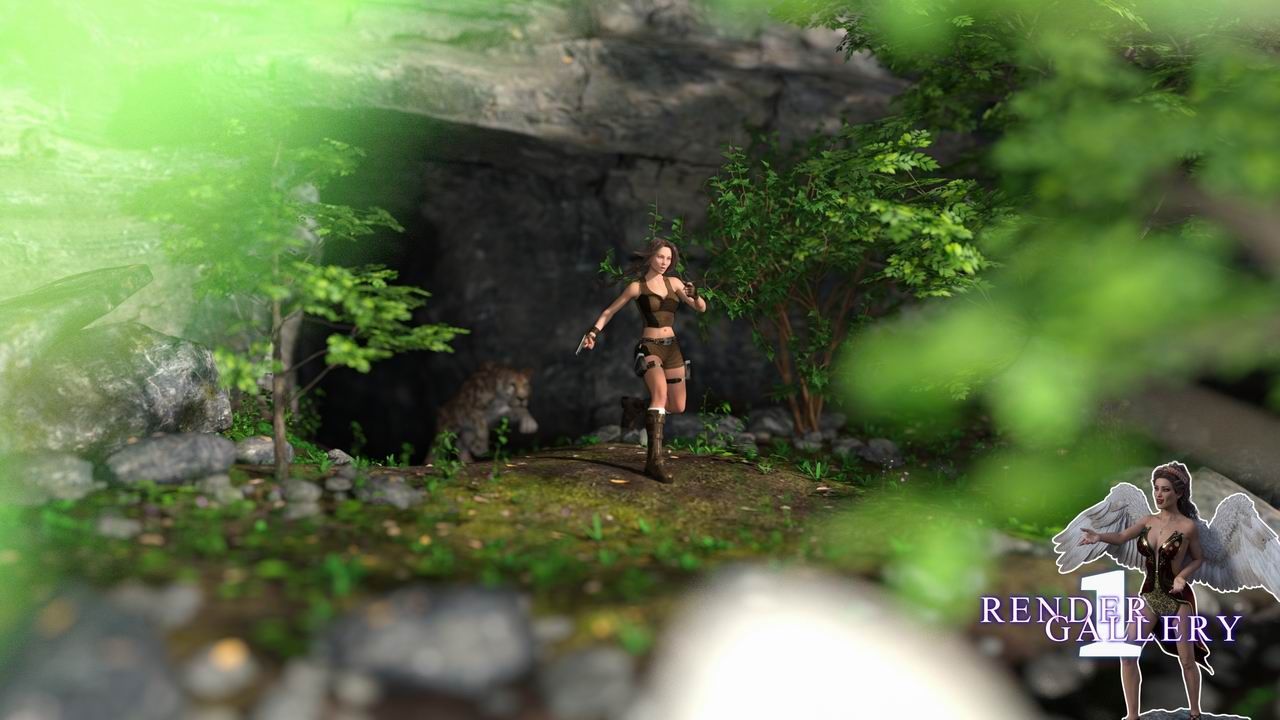Lara on the run from a sabre tooth